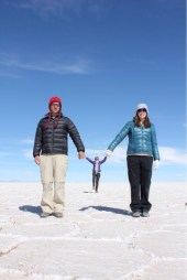 Marvin & Eve Holding Tiny Allison at Uyuni Salt Flats