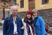 Marvin, Eve, Allison in Ollantaytambo, Peru in Sacred Valley