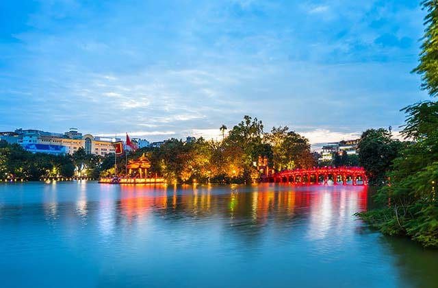 Hoan Kiem Lake, also known as Hồ Gươm, is a lake in the historical center of Hanoi, the capital city of Vietnam. The lake is one of the major scenic spots in the city and serves as a focal point for its public life. (Hanoi Attractions)