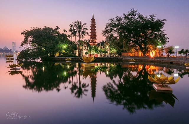 Trấn Quốc Pagoda, the oldest Buddhist temple in Hanoi, is located on a small island near the southeastern shore of Hanoi's West Lake, Vietnam. (Hanoi Attractions)