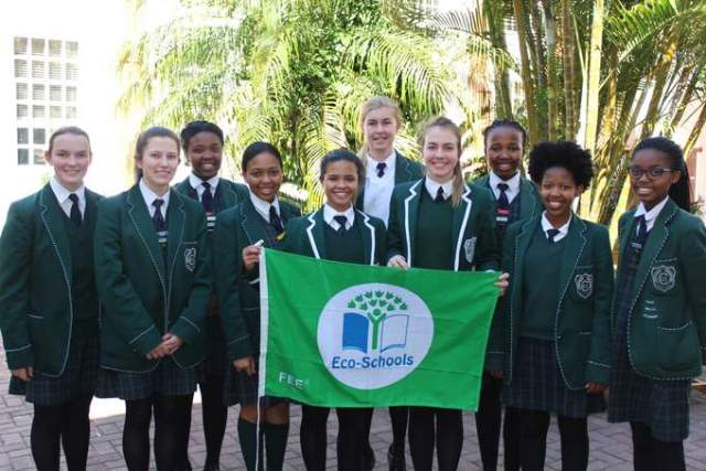 ECO-AWARE: Clarendon High Environmental Club members show off their eco-schools Green Flag, which they were awarded for their environmental work at the school. Proud pupils, back, from left, are Chumanande Zuzani, Jessica Robertson and Yonela Peter. Front, from left, are Emma Sephton, Kirsten Davis, Uthandile Samela, Tia Klaasen, Moya Eybers, Phila Mabele and Lingomso Mahlangeni