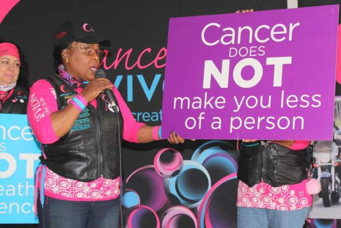 BE STRONG: Mama Raynolda Makhutle dismantles some of the myths about cancer during their Cancer.vive presentation at Johnson & Johnson last Tuesday Picture: SARAH KINGON