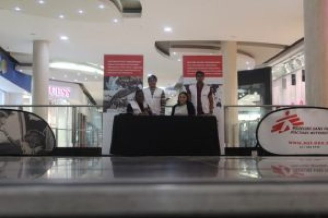 SPREADING THE NEWS: Médecins Sans Frontières or Doctors without Borders, are in town to garner support for the work they do at home and abroad. The 'good Samaritan' d o c t o rs are at Hemingways Mall until Monday to interact with the public Picture: SUPPLIED