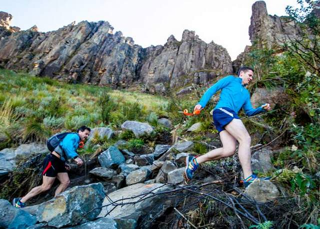 MAJESTIC SCENERY: Colin Bosch, left, and Giddo Muller tackle the challenging course up the  Katberg  mountain, which forms part of the  Katberg   Eco  Sky Trail Picture: BRUCE VIAENE