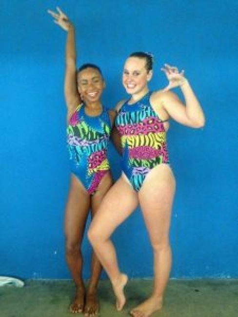 LIKE DUCKS TO WATER : Synchronised swimming stars Tayla-Jade van Huyssteen, left and Emlynn Spogter, will represent SA at the world champs in Kazan, Russia next month Picture : SUPPLIED
