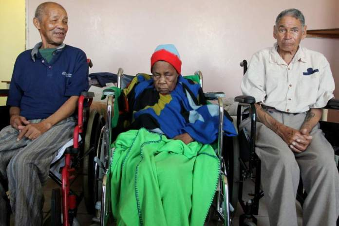 GRATEFUL RECIPIENTS: DJ Sobey Old Age residents, from left, James Abrahams, Nompumelelo Mjanga and David Richards benefit from the subsidy from the Victoria Home Trust , which helps pay for some of their basic living expenses Picture: SARAH KINGON