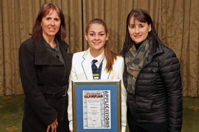 HISTORY IN THE MAKING:  Catherine   Ball , who won a bronze medal at the national Computer Applications Technology Olympiad, stands with teacher Angela Haschick, left, and mother Gina  Ball  at the awards ceremony in Cape Town Picture: SUPPLIED