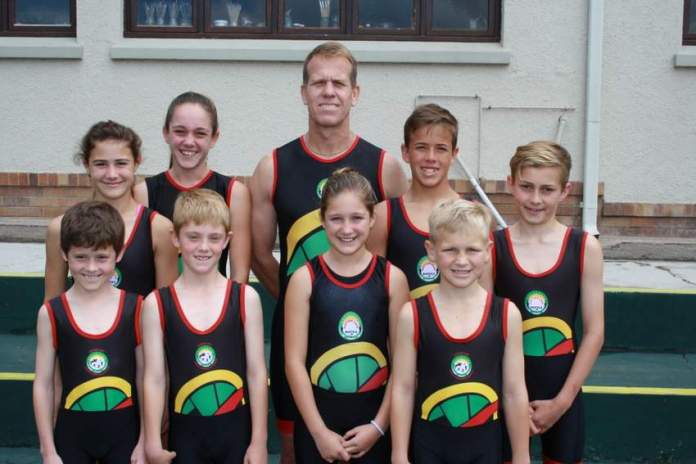 JET SET: Some of the East London athletes representing South Africa at the  biathle  and triathle  world   champs  in Sarasota are, from left, back, Emily Raath, Kiara Herman, Rodney Westgate, Matthew Raath, Nathan Gallacher. Front from left are, Zachary Smith, Ben Heuer, Amber Herman and Carter Preston