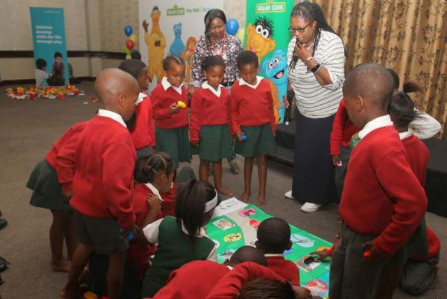 LEARNING THROUGH PLAY: Pupils from Shad Mashologu Junior Primary School play an educational game using the new LEGO bricks. Picture: SARAH KINGON