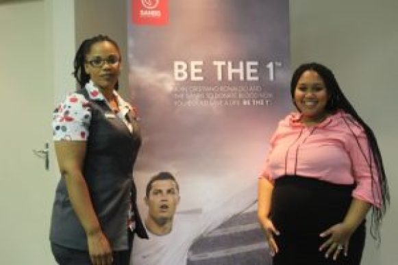 Caption for image : SAVING LIVES: Lisa Ketsema from the South African National Blood Services (SANBS) and blood donor Valdez van Rooyen show off SANBS's new BE THE 1 Donor campaign at a launch function this week Picture: QHAMANI LINGANI