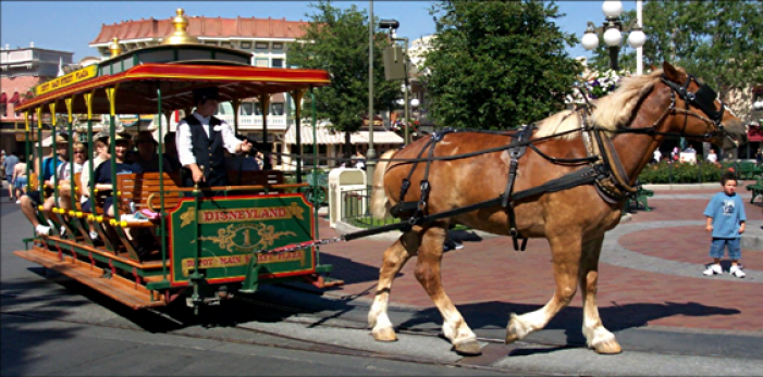 disneyland horse drawn trolley
