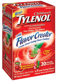 children's tylenol flavor creator box packaging
