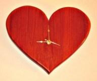 engraved wood heart clock