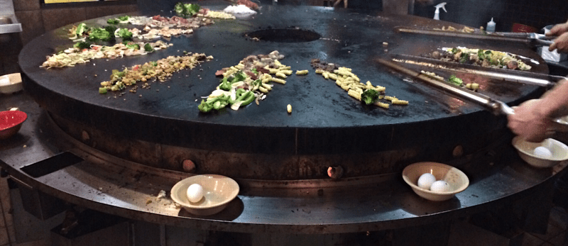 grilling food on the mongolian grill