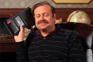 enjoying a tape recorder
