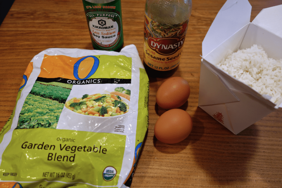 starting ingredients for making leftover fried rice