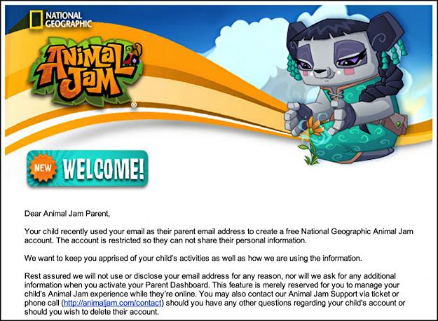 parent email animal jam