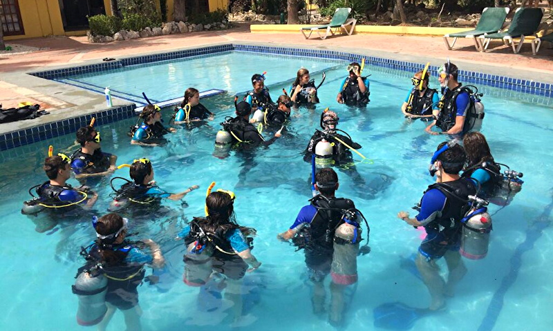 teens learning how to dive in a pool