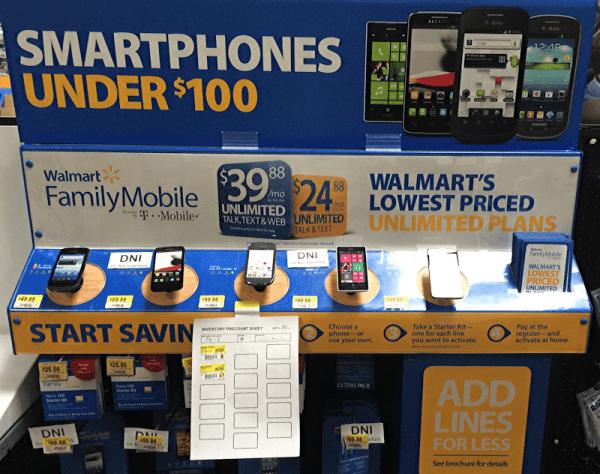 walmart smartphone cell phone display, inventory in progress