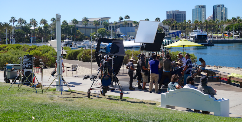 filming a TV commercial for LG at Long Beach harbor