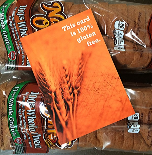 gluten free card on loaves of bread