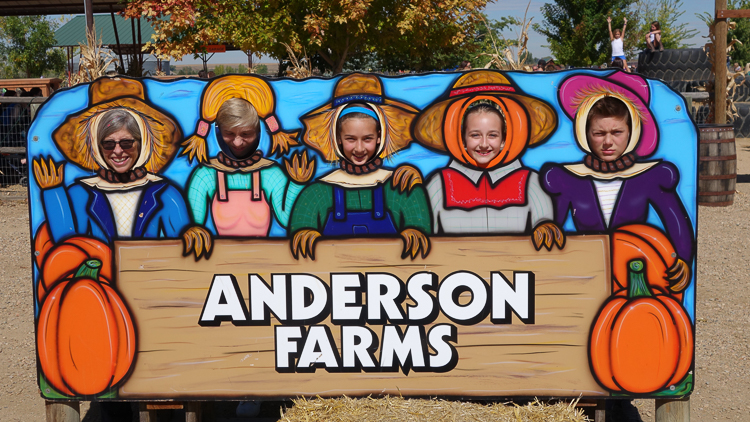 mugging it up at Anderson Farms