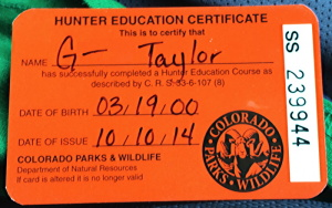 colorado hunter safety training permit card id