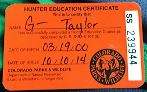 colorado hunter safety training permit card id