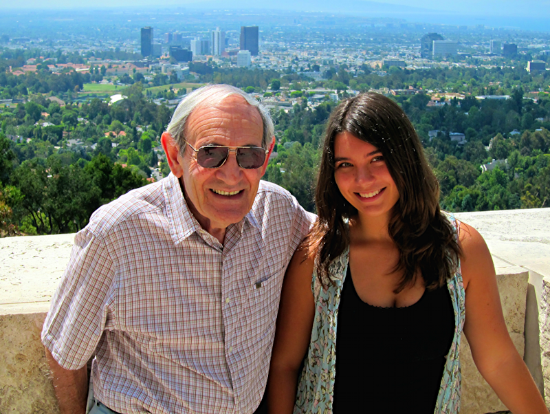 Dad and my daughter at the Getty Museum, circa 2012
