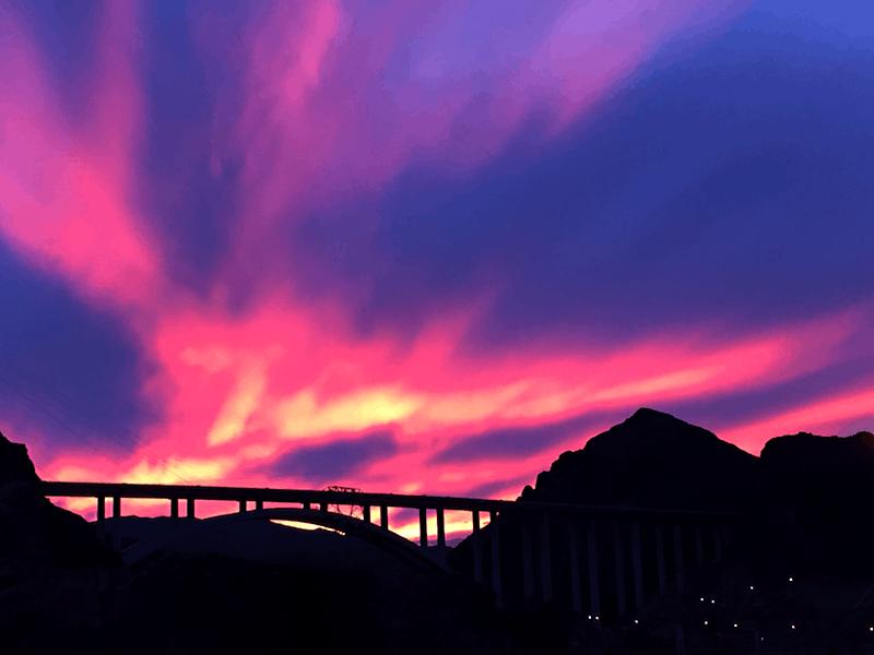 suspension bridge at hoover dam, sunset