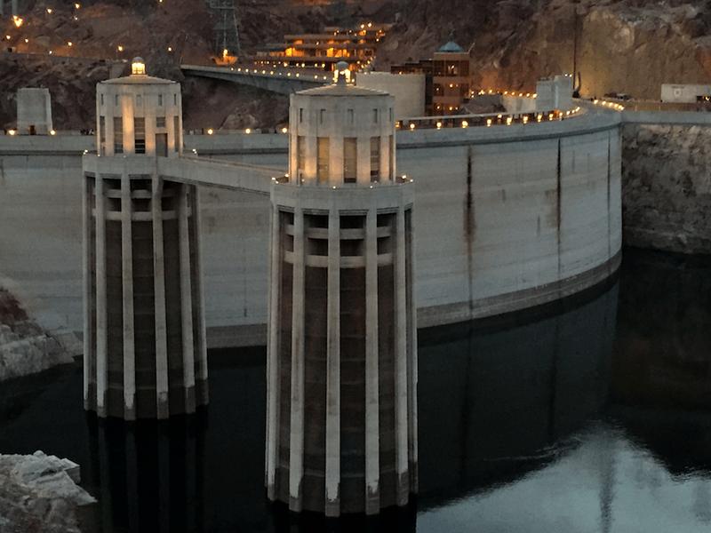 hoover dam, water intake towers, dusk