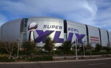 super bowl exterior shot with signage 2015