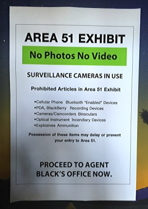 area 51 exhibit - no photos