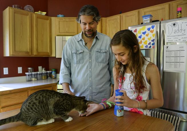 dave taylor and his 11yo daughter feed their cat in the kitchen