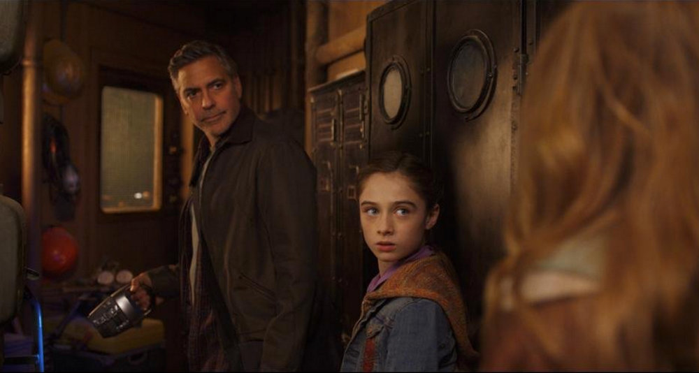"Frank (George Clooney) and Athena (Raffey Cassidy), from ""Tomorrowland"""