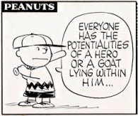 charlie brown hero or goat quote 1959 peanuts