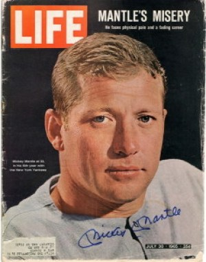 LIFE magazine, 1965, signed by Mickey Mantle