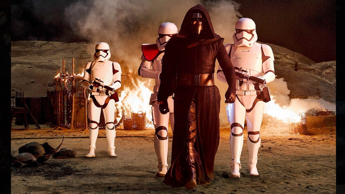 "kylo ren (adam driver) and his Stormtroopers, from ""Star Wars: The Force Awakens"""