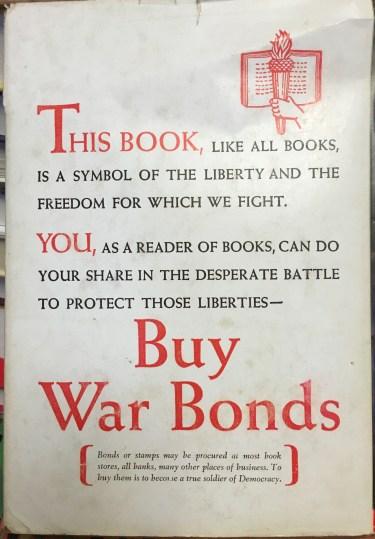 buy war bonds, back of book printed in 1945