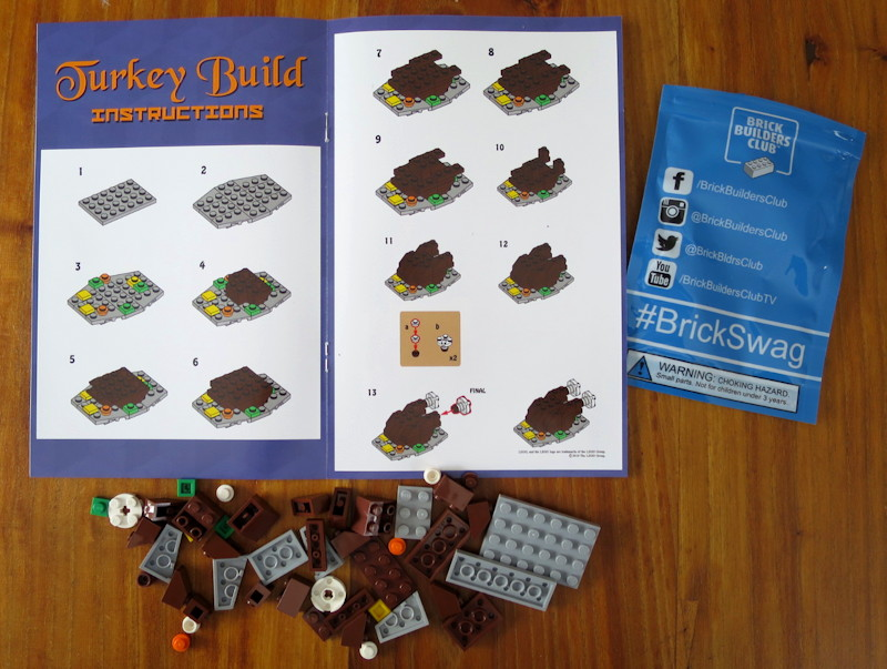 lego brick builders club - brickswag - thanksgiving turkey project