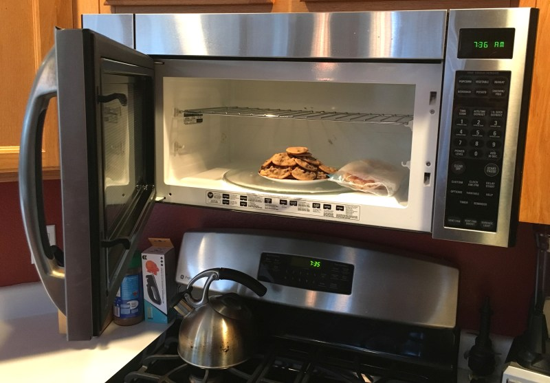 food stored in microwave oven