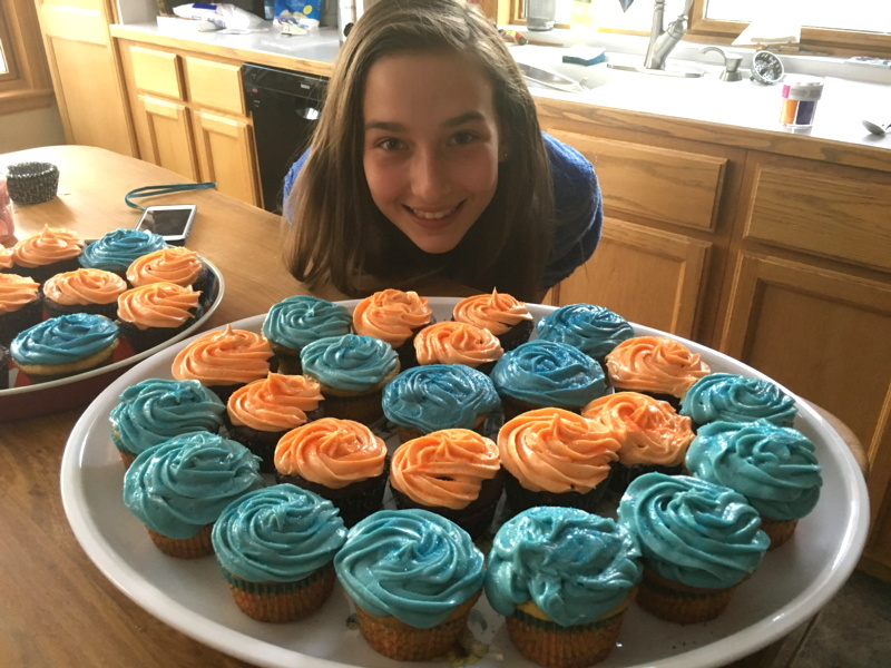 my daughter cupcakes cupcake wars blue orange super bowl