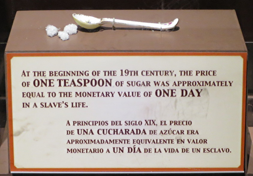 one teaspoon of sugar = one day of a slave's life