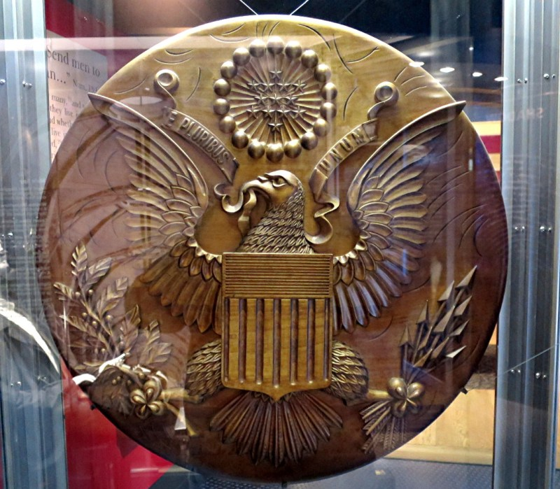 wooden seal of america, with russian spy bug inside