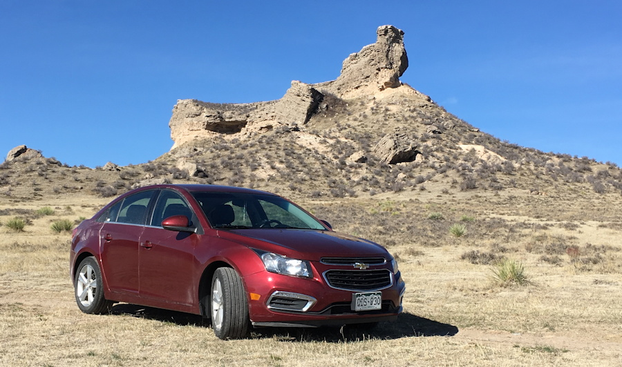 2015 chevy cruze LT, exterior with wyoming scenic background
