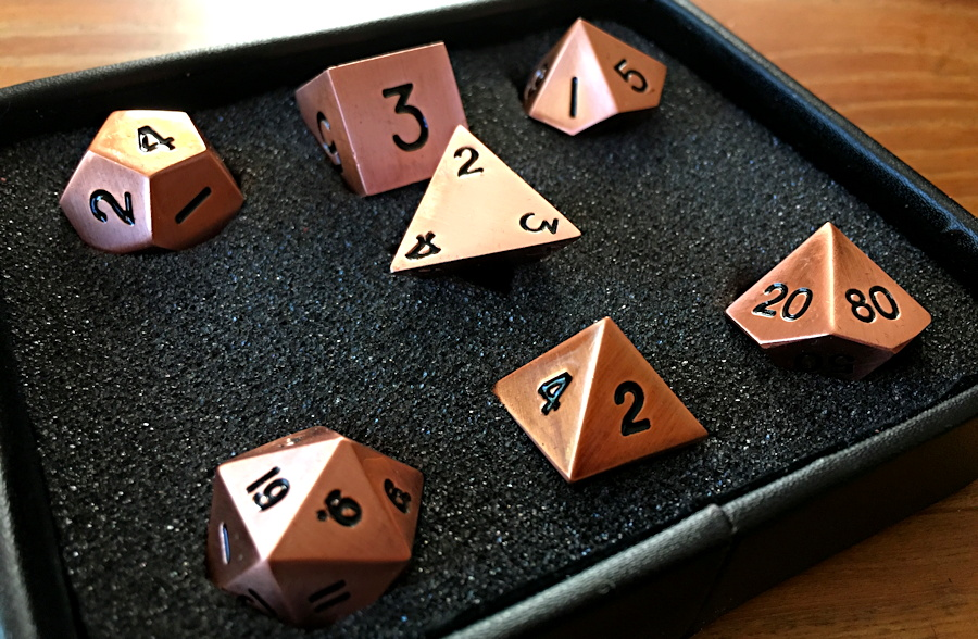 Legendary Copper Metal Dice Set from Easy Roller Dice