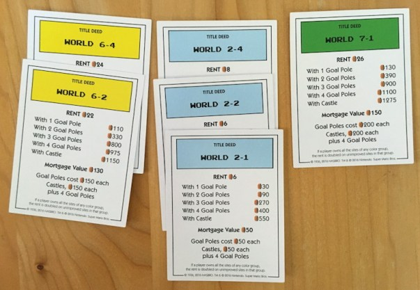 property cards, super mario bros monopoly from usaopoly