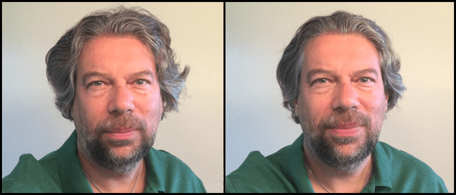 the author, before and after american crew hair products