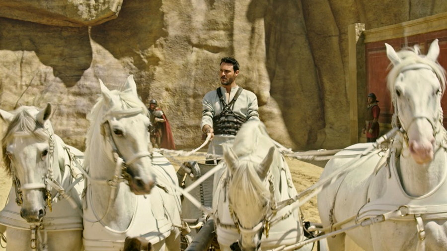 "Judah Ben-Hur (xx) rides his chariot into the track, ""Ben-Hur"""
