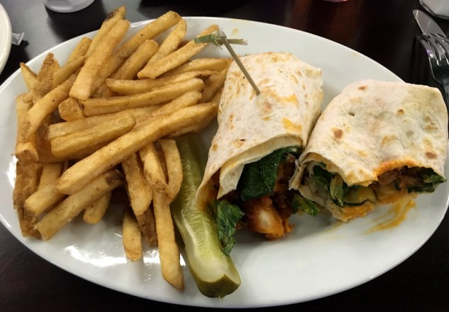 buffalo chicken wrap with fries, gameworks